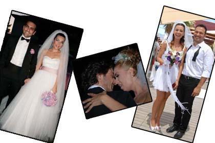 """YARIŞIR GİBİ EVLENDİLER Bu yıl ünlüler deyim yerindeyse bir """"evlenme yarışına"""" girdi... Neredeyse her ay hatta bazen aynı ay içinde birkaç ünlü çift dünyaevine girdi. Bu düğünlerin bazıları herkesi şaşırttı, bazıları da sanki evlenenler kendisiymiş gibi sevindirdi.   İşte birbiri ardına dünyaevine giren ünlüler ve konuşulan düğünleri."""