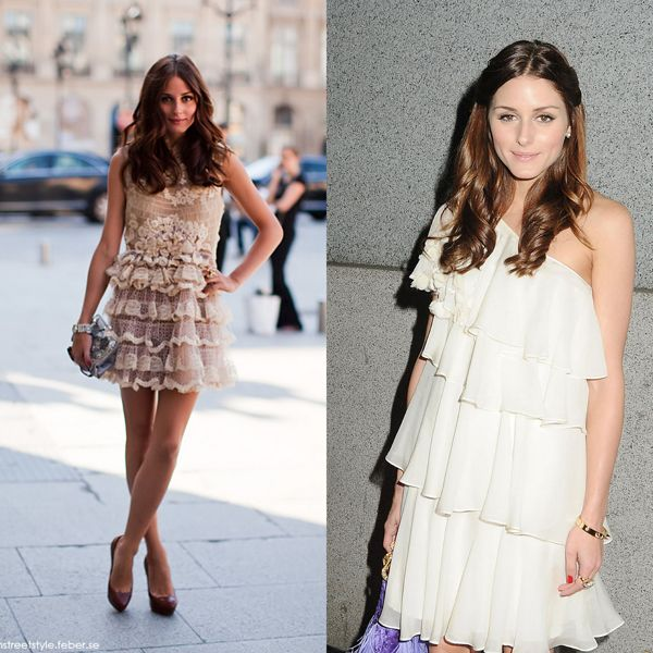 Olivia zaman zaman karşımıza iflah olmaz bir romantik olarak da çıkıyor. Bu krem renk dantel elbise Olivia'nın içindeki romantik kızı en iyi simgeleyen kıyafetlerden biri. Fırfır gibi romantik detayları da kombinlerinde kullanmayı seviyor.