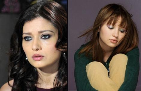 Nurgül Yeşilçay (solda) ile Emily Browning'in yüz hatları da birbirinin kopyası gibi.