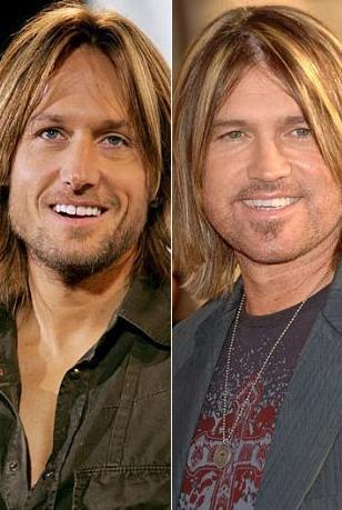 Keith Urban (solda) ve Billy Ray Cyrus'ın saç modelleri bile aynı.
