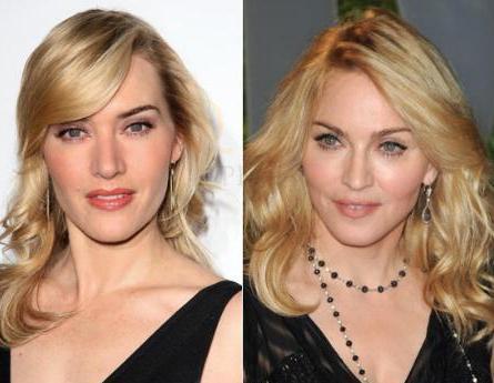 Madonna ve Kate Winslet bu saç modeliyle birbirleriin kopyası gibi görünüyorlar.