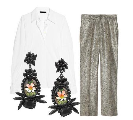 Pantolon: Moschino Bluz: The Row Aksesuar: Erickson Beamon swarowski kristallerle süslü küpeler.