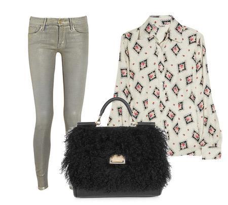 Pantolon:Mother Bluz: Tucker Aksesuar: Dolce & Gabanna'dan tüylü, kısa saplı siyah çanta.