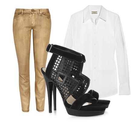 Pantolon: Michael Michael Kors Bluz: By Marlene Birger Aksesuar: Burak Uyan tasarımı deri ve süet stiletto.