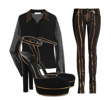 Pantolon: ZADIG & VOLTAIRE: ERIN MEETS ZADIG Bluz: Chloe Aksesuar: Gucci süet platform ayakkabılar.