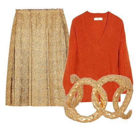 Etek: Lanvin Bluz: Stella McCartney Aksesuar: Yves Saint Lauren altın bileklikler