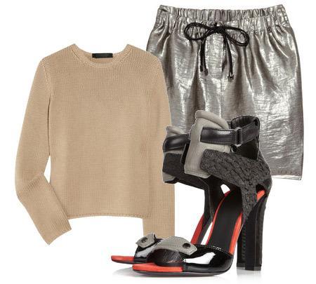 Etek: Elizabeth And James Bluz: Calvin Klein Collection Aksesuar: Alexander Wang gri, turuncu ve siyah sandaletler.