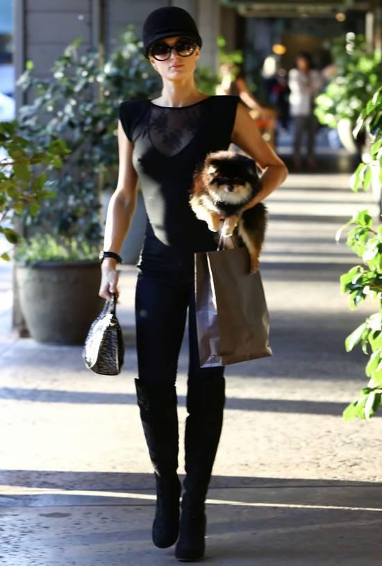 Paris Hilton da alışverişe giderken tercih ettiği transparan bluzu ve kucağındaki köpeğiyle herkesi şaşırtarak magazin basınının ilgisini üzerine çekmişti.