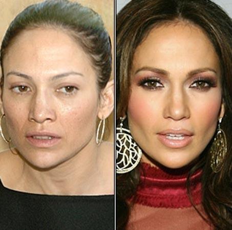 Pekçok kişinin görmediği ise Lopez'in makyajsız yüzü...