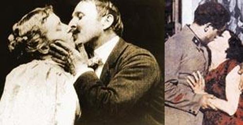 Aslında bu tür sahneler bir zamanlar sadece Yeşilçam'da değil sinemanın kalbi Hollywood'da da skandal yaratıyordu.   Tıpkı sol karede gördüğünüz The Kiss (Öpücük) filmindeki gibi. 1896'da çekilen bu sessiz filmde John C. Rice ile May Irwin'in 30 saniye süren öpüşme sahnesi öyle büyük bir tepki gördü ki.. Bunun ardından ABD'de 1930'larda çıkan bir yasa sinema filmlerindeki öpüşme sahnelerini 10 saniyeyle sınırladı.   Sağ karede ise Türk sinemasının ilk öpüşme sahnelerinden biri. Muhsin Ertuğrul'un 1932'de çektiği Bir Millet Uyanıyor'da Emel Rıza ve Ercüment Behzat Lav dönemin koşullarına göre oldukça cesur bir öpüşme sahnesi için kamera karşısına geçmişler.