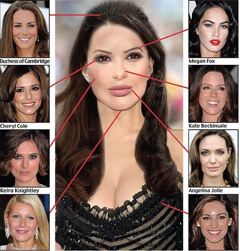 """Oyuncu Megan Fox'un kaşları, Angeline Jolie'nin dudakları, Gwyneth Paltrow'un çenesi, Kate Beckinsale'in burnu, Kelly Brook'un göğüsleri ve Cheryl Cole'nin gözlerinin kullanıldığı kolaj, günümüzün """"mükemmel kadınını"""" ortaya çıkarttı."""