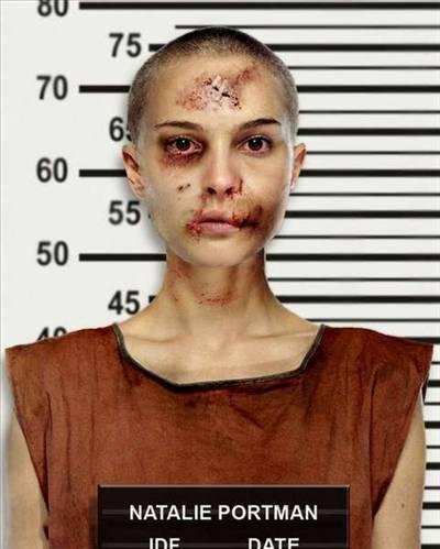 """Photoshop'la oynanmış fotoğrafların yarıştırıldığı Worth1000 sitesi """"Ünlüleri hapse sokuyoruz"""" sloganlı bir yarışma düzenledi. İşte birinciliği Natalie Portman'ın bu fotoğrafının kazandığı yarışmanın diğer aday fotoğrafları.."""