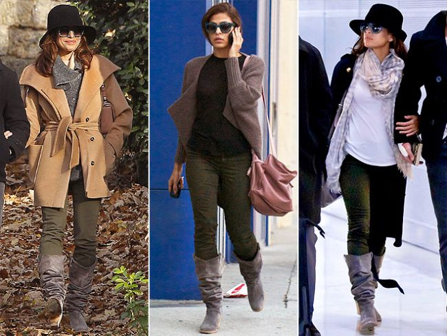 EVa Mendes de renkli pantolon trendini yakından takip ediyor.