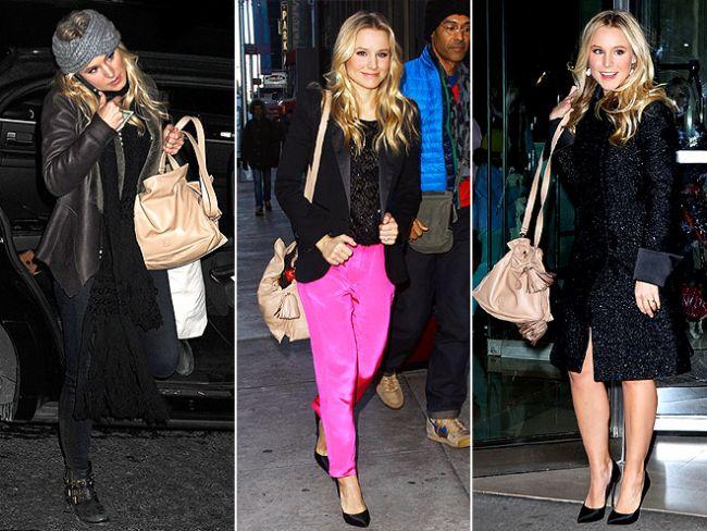 Sadece messenger çantalar mı moda sanıyorsunuz, Kristen Bell'in vazgeçemediği Loewe  çantası gibi hobo çantalar da çok şık.