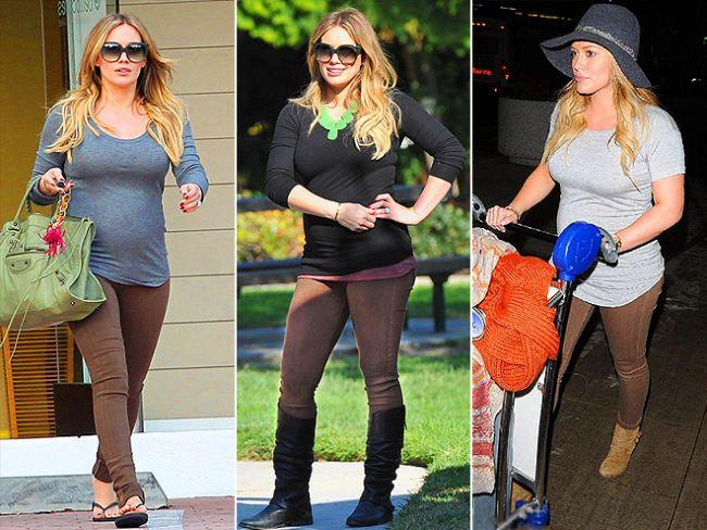 Hamile okuyucularımız Hilary Duff'tan örnek alıp, streç pantolonları deneyebilirler.