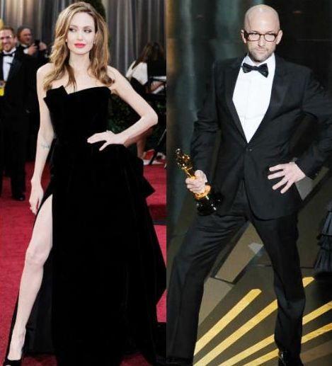 The Descendants (Senden Bana Kalan) filmi gecede en iyi uyarlama senaryo ödülünün sahibi oldu. Alexander Payne, Nat Faxon ve Jim Rash heykelciklerini almak için sahneye çıktı. İşte o anda Jim Rash, Jolie'nin Oscar pozunu tekrarlayınca salon kahkahadan ve alkıştan inledi.