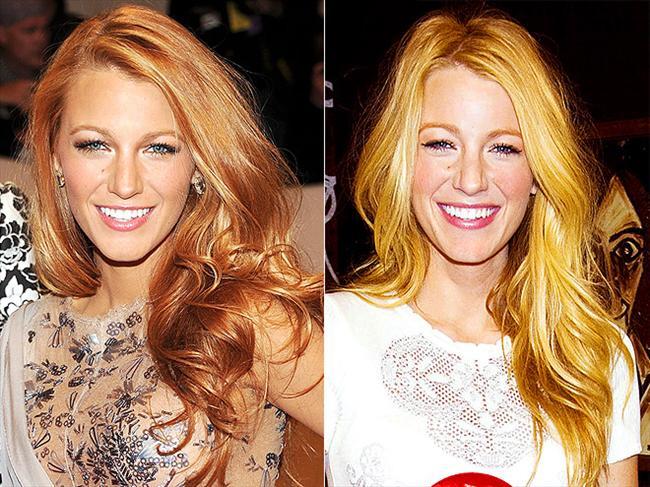 Blake Lively kısa bir süre için sarı saçlarını çilek sarısına boyattı. Ne dersiniz, Blake'in hangi saç modeli daha güzel?