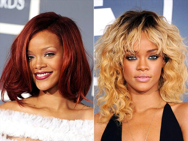 Rihanna tam bir saç bukalemunu gibi. Saçlarının rengi ve şekli sürekli değişiyor. Fakat son olarak sarı saçta karar kılmış gibi görünüyor.