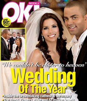 Eva Longoria da Tony Parker da düğün fotoğraflarını 2 milyon dolara bir dergiye sattı.