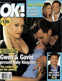 Gwen Stefani, eşi Gavin ve oglu Kingston ile objektif karşısına geçmenin karşılığında 575 bin dolar aldı.