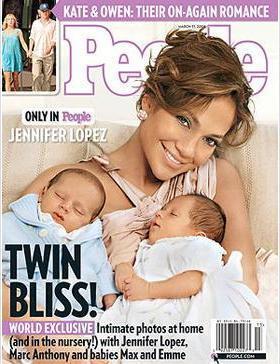 Jennifer Lopez ve bir süre önce ayrıldığı eşi Marc Anthony, haftalar süren pazarlıktan sonra ikizleri Max ve Emme'nin fotoğraf haklarını People dergisine sattı. Lopez'in dergiden 3 milyon sterlin aldığı konuşuldu.