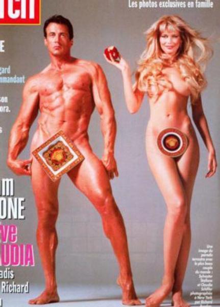 CLAUDIA SCHIFFER - SYLVESTER STALLONE  Claudia Schiffer ve Sylvester Stallone'un birlikte verdikleri modern Adem ile Havva seklindeki poz uzun süre hafızalardan silinmedi.