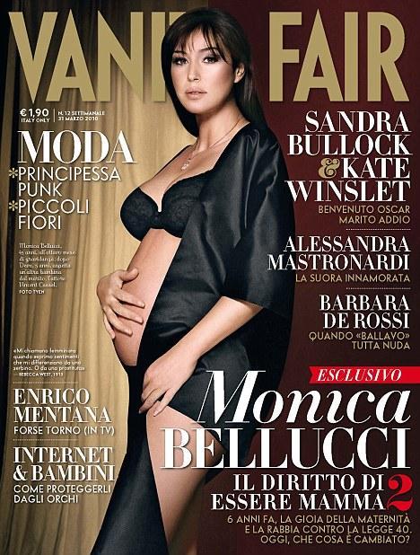 İkinci çocuğuna hamile olan 45 yaşındaki İtalyan aktris Monica Bellucci, Vanity Fair dergisinin İtalya edisyonuna cesur pozlar vermişti. Fransız aktör Vincent Cassel'le evli olan Bellucci, yıllar önce Demi Moore'un hamileyken verdiği çıplak pozun bir benzerini yine aynı dergi için çektirdi.