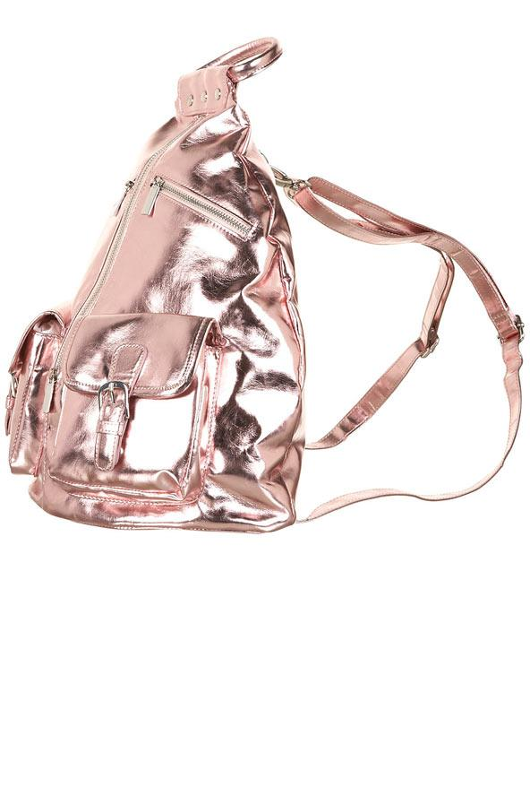 Pembe metalik sırt çantası, Topshop