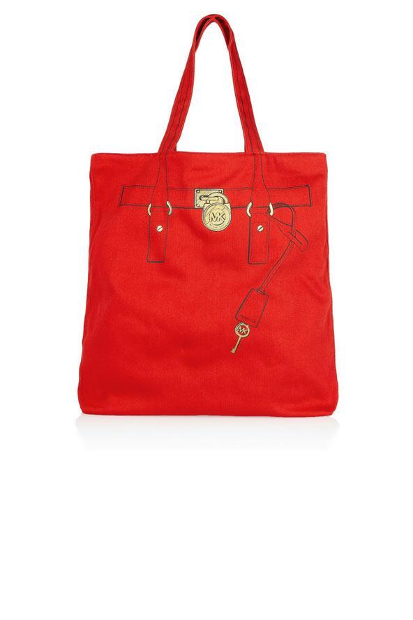 Kırmızı kumaş el çantası, Michael Michael Kors