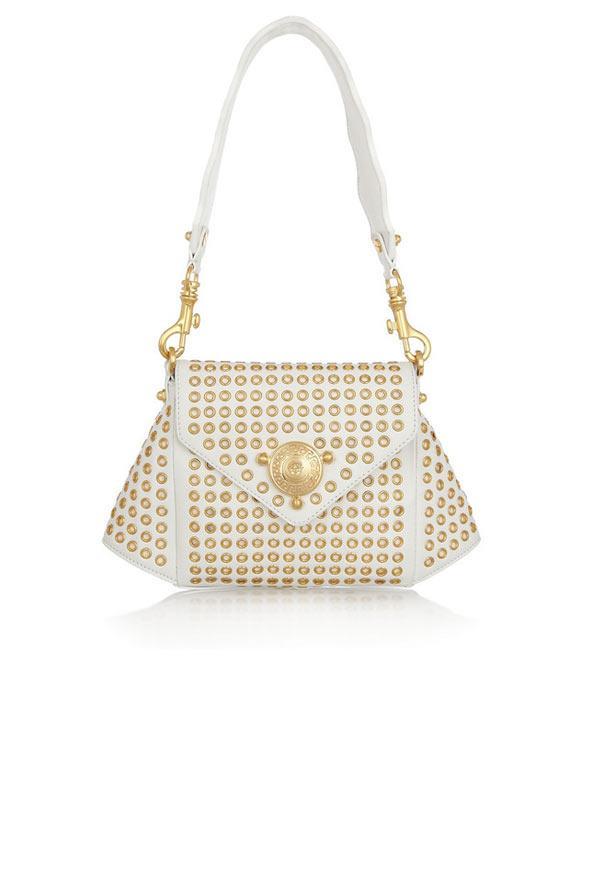 Beyaz deri, zımbalarla süslü omuz çantası, Versace