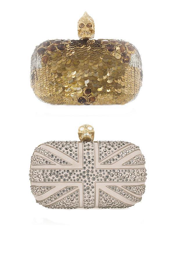 Union Jack ve Gold clutchlar. İkisi de Alexander McQueen.