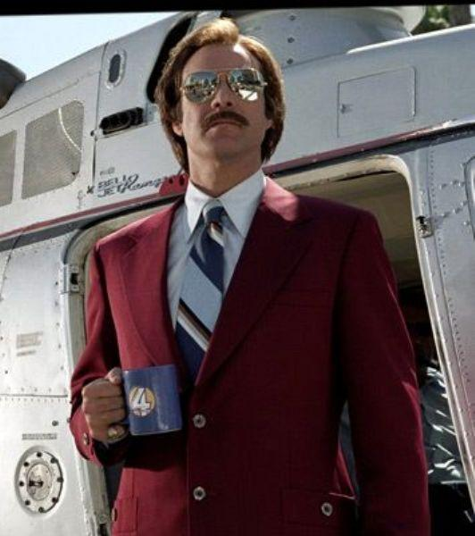 Ron Burgundy The Legend Of Ron Burgundy filminde, Will Ferrell'ın canlandırdığı Ron Burgundy karakteri..