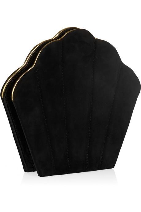 Deniz kabuğu görünümlü süet  el çantası, Charlotte Olympia