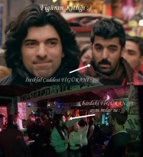 'FİGÜRAN SIKINTISI MI ÇEKİYORSUNUZ' Fatmagül'ün Suçu Ne dizisinin geçen hafta yayınlanan bölümünde Fatmagül ve Kerim sevgililer günü kutlaması için Taksim'deydiler.  İstiklal Caddesi'nde yürüyüp, kalabalığın içinden geçerek bara gittiler.  Sonra bir köşede oturup dans edenleri izlediler. Buraya kadar herşey normal. Sorun olan, caddede yürürken ikilinin arkasından gelen 'atkılı ve bıyıklı' beyefendinin, barda dans eden kişiler arasında olmasıydı. Anladığım kadarıyla dizide figüran sıkıntısı çekiliyor. Kolay gelsin...  Serabiko