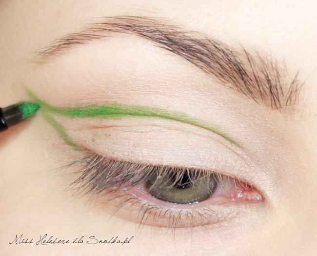 Fırça yardımıyla yeşil bir tonda fotoğraftaki gibi çizgi çekin.