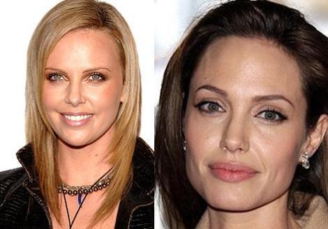Charlize Theron ve Angelina Jolie 1975 doğumlu iki ünlü güzel kendilerinden daha genç kadınları bile kıskandırıyor görünüşleriyle. Ama Theron'un yumuşak yüz hatları onu biraz daha genç gösteriyor.