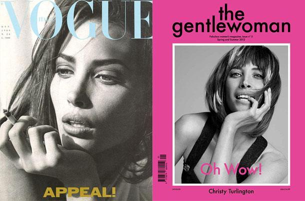 Steven Meisel Vogue dergisi için Christy Turlington'un bu fotoğrafını çektiğinde yıl 1989'du. Turlington aynı pozun bir benzerini günümüzde the Gentlewoman dergisi için verdi.