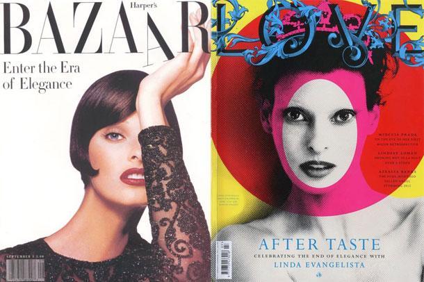 Linda Evangelista'nın Love dergisinin kapağında Jamie Reid'in tablosundan esinlenerek çekilen bu kapağıyla, Bazaar dergisi için Mert & Marcus'un çektiği bu kapak fotoğrafı arasında 20 yıl fark var. Linda, iki fotoğrafta da harkulade görünüyor.