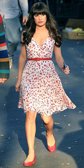 Lea Michelle Glee dizisinin setinde.