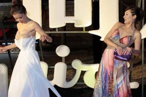 Çin'in genç kuşak yıldızlarından Sun Feifei kırmızı halıda elbisesinin azizliğine uğradı.
