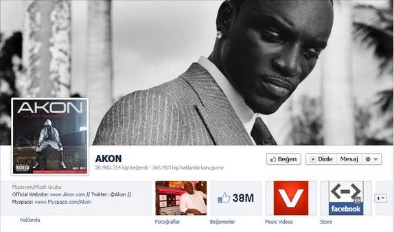 9- Akon  Akon'ın hayran sayısı 39 milyona ulaşmak üzere.