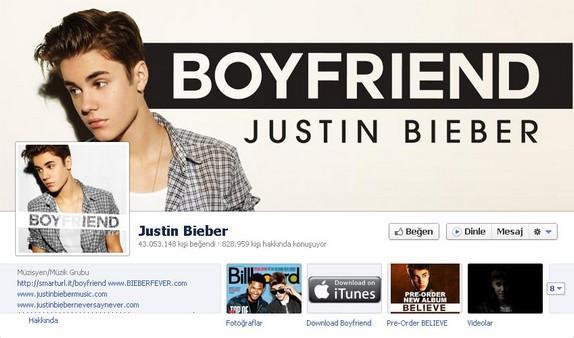 6- Justin Bieber  Genç yıldız Bieber'ın hayran sayısı 43 milyona yaklaşıyor.