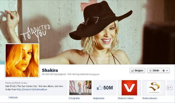 4- Shakira  Kolombiyalı şarkıcının 50 milyon hayrana ulaşmasına az kaldı.