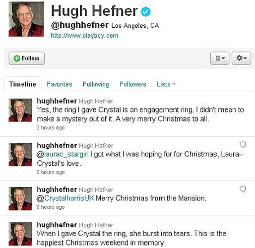 """Sosyal paylaşım sitesi Twitter'da nişanını duyuran Hefner, 24 yaşındaki Playboy yıldızıyla hayatında üçüncü kez """"dünya evine"""" gireceğini bildirdi.  Hefner, Twitter'daki mesajında, """"Nişan yüzüğünü Crystal'a verdiğimde, gözyaşlarına boğuldu. Hatırladığım en güzel Noel haftasonu bu oldu"""" diye yazdı."""