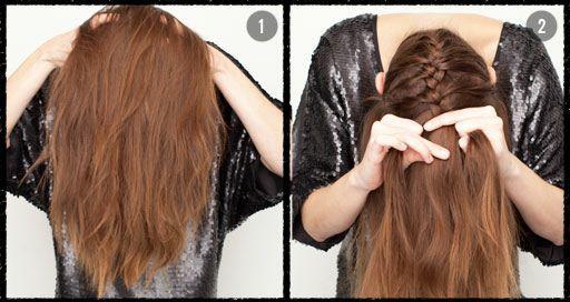 1. adımda başınızı eğerek saçlarınızı öne doğru atın.  2. adımda ise saçlarınızı ensenizden örmeye başlayın.