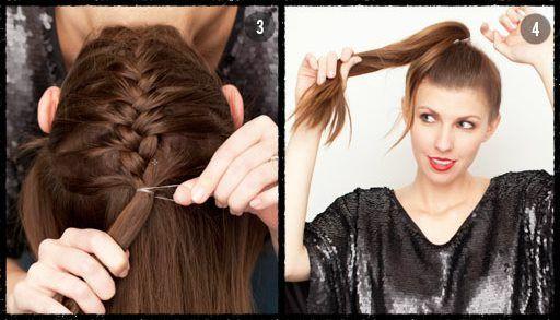 3. adımda ördüğünüz saçlarınızı tokayla sabitleyin.  4. adımda ise geri kalan saçlarınızı da tepeden toplayın.