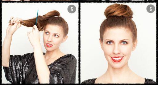 5. adımda saçlarınıza tarak yardımıyla biraz hacim kazandırın.  Son olarak 6. adımda hacimlendirdiğiniz saçlarınızı tepenizde dolayın ve bir tel toka yardımıyla tutturun. İşte size hızlıca evde ya da ofiste yapabileceğiniz bir topuz modeli...