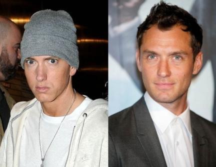 Eminem ve Jude Law İkisi de 1972 doğumlu. Ama yaşadığı zor hayat Eminem'in yüzünde derin izler bırakmış.