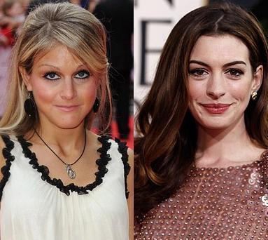 Nikki Grahame ve Anne Hathaway Her ikisi de 1982 doğumlu.. Ama belki de saç rengi yüzünden Grahame daha olgun görünüyor.
