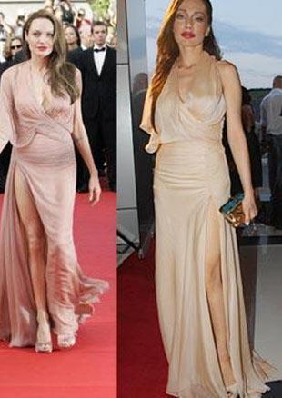 """Bir yandan """"Angelina Jolie'ye benzemeye çalışmıyorum"""" diyen ama bir yandan da her fırsattaona olan benzerliğiyle dikkat çeken Umut Akyürek katıldığı bir davette giydiği bu elbiseyle herkesi şaşırtmıştı."""